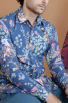 HEW Mens Oxford Shirt in Floral Navy