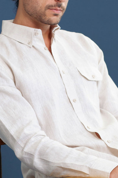 HEW clothing Mens Long Sleeve Shirt in Natural