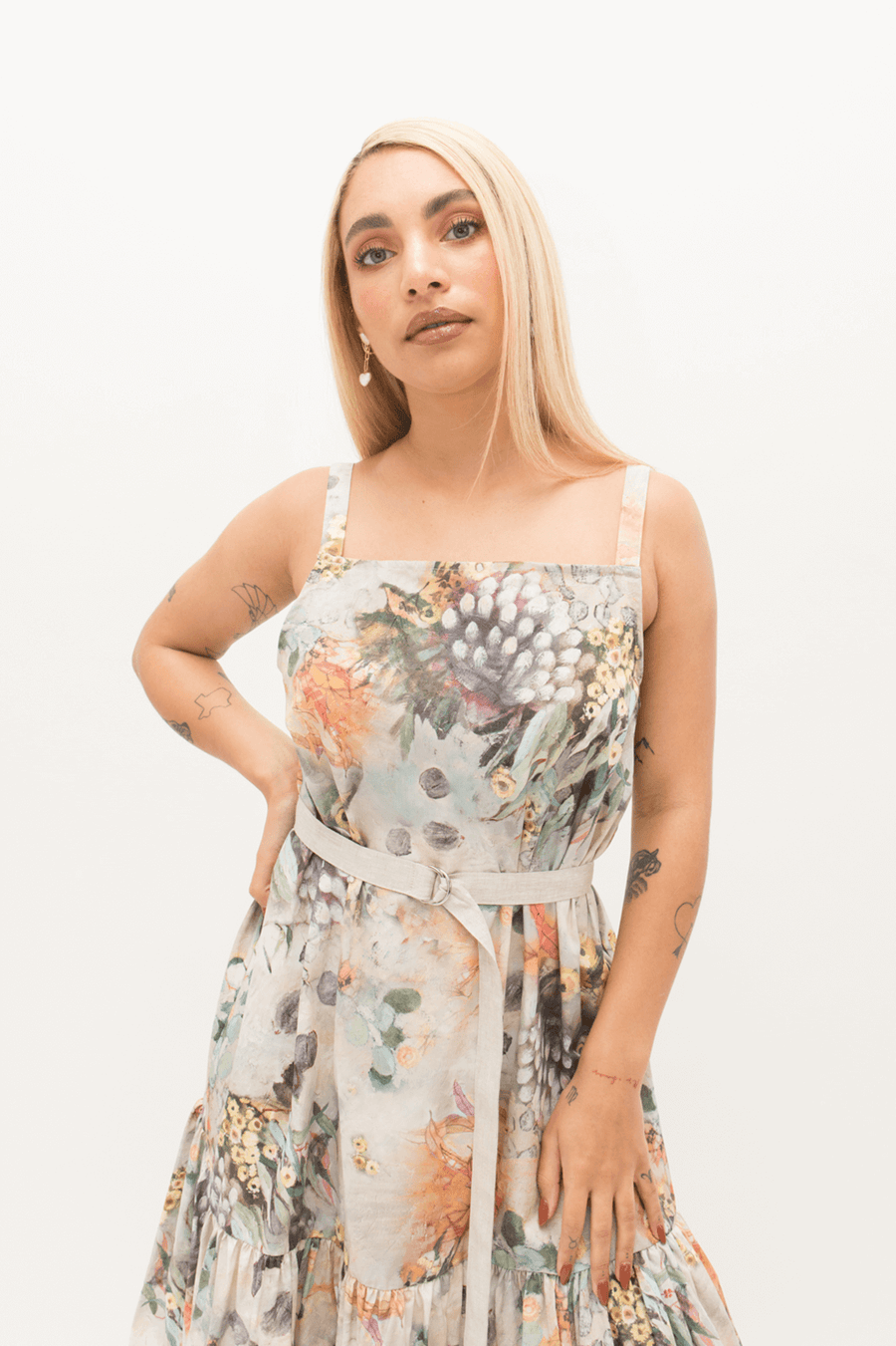 Smock Frill Dress in Fragile Print