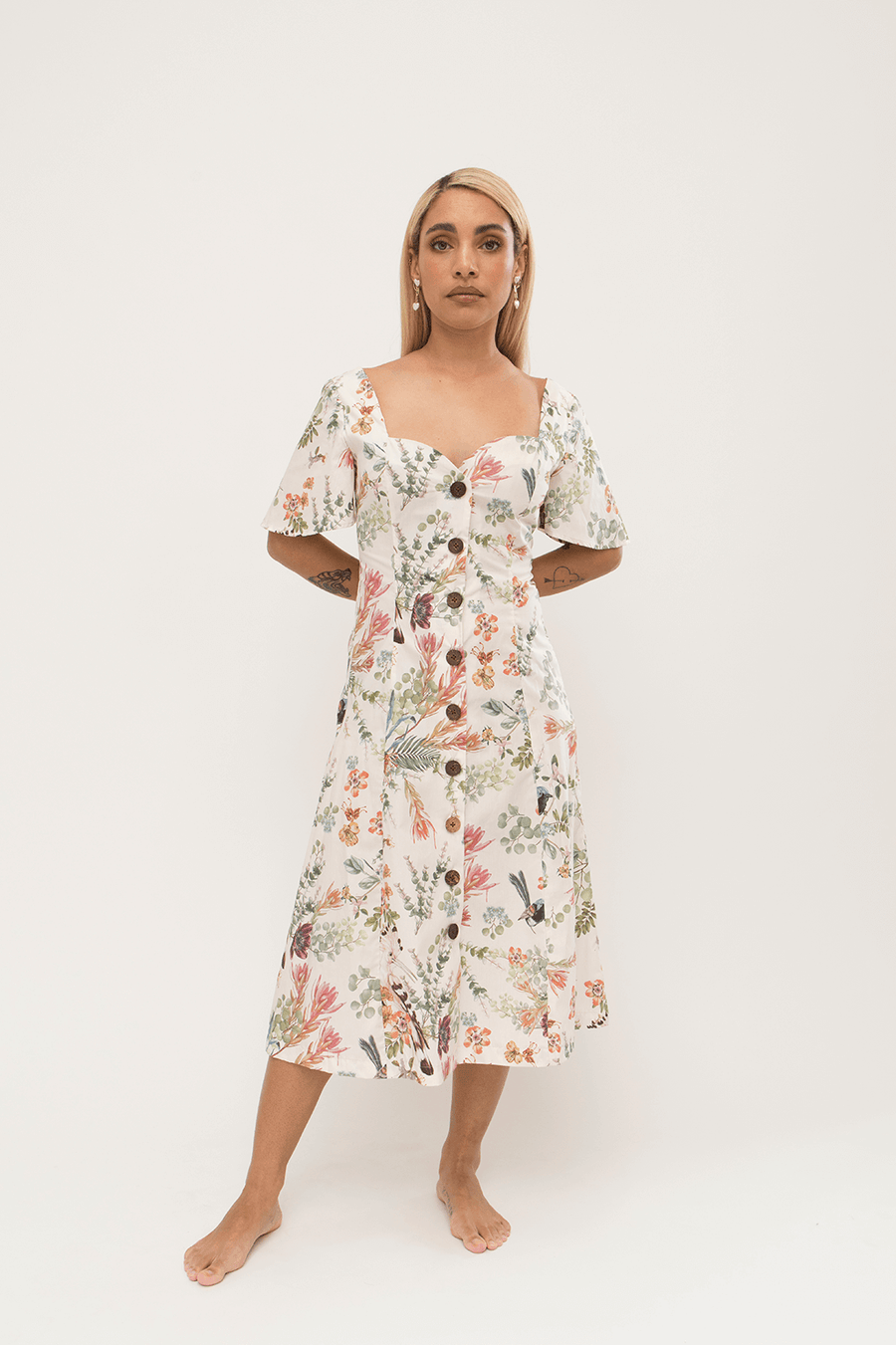 Sunday Dress in Cream Floral
