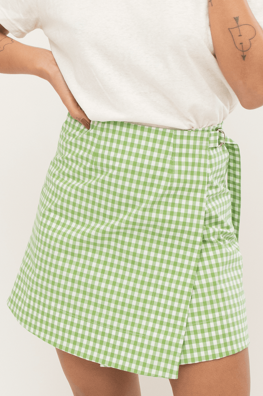 Wrap Skirt in Gingham Print