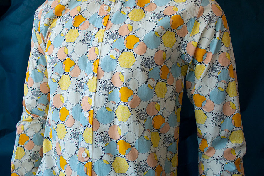 HEW Clothing Classic Slim Cut Shirt in Yellow Bubble Print