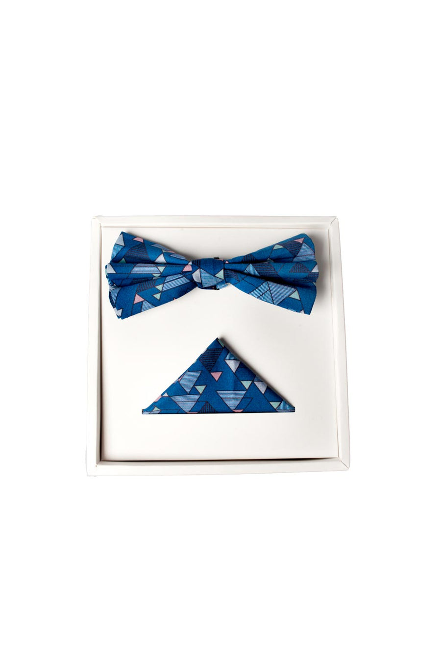 BOW TIE SET IN BLUE GEO PRINT