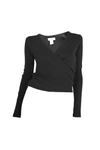 Womens Long Sleeve Wrap Top In Black