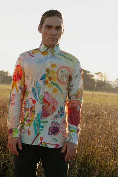 HEW clothing Mens Long Sleeve Shirt in Proteus Fields