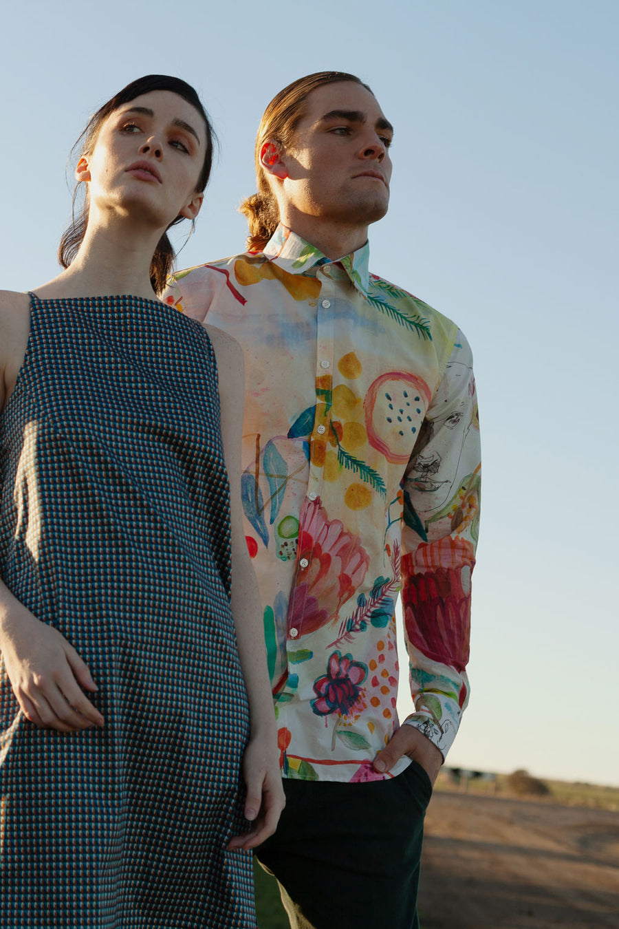 HEW X KAT Mens Long Sleeve Shirt in Proteus Fields