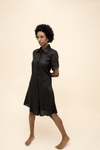 Organic Hemp Short Sleeve Shirt Dress in Black