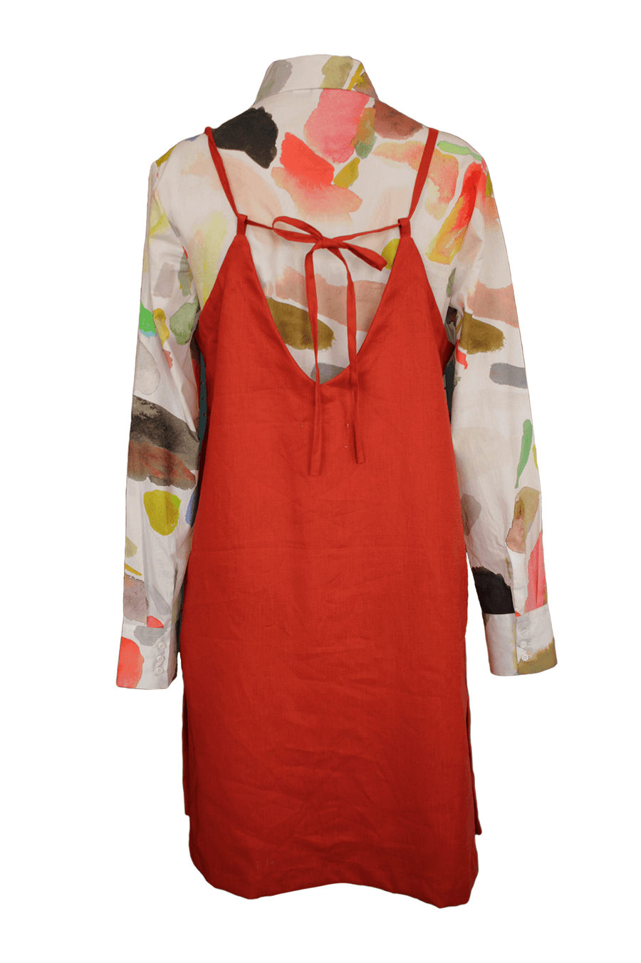 Pinafore Dress in Paprika Linen