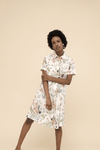 Short Sleeve Shirt Dress in Muzi Floral Cream