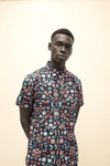 The Short Sleeve Oxford Shirt in Blue Bird Print