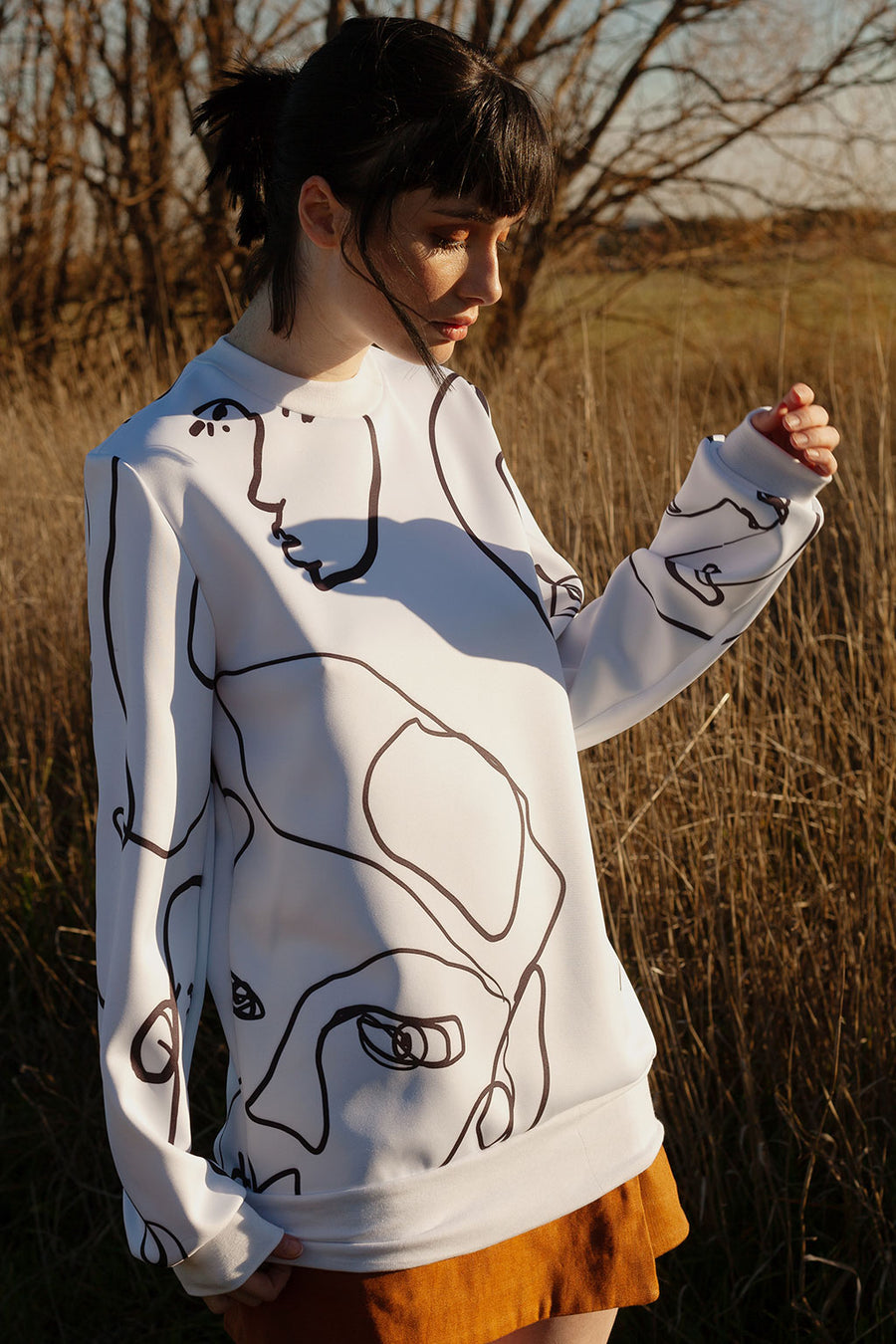 HEW X EMA Portrait Print Sweater in Ivory
