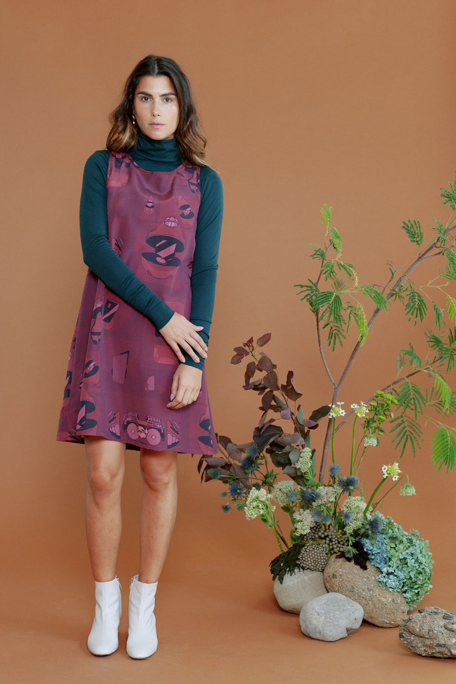 HEW Clothing Shift Dress in Print Maroon
