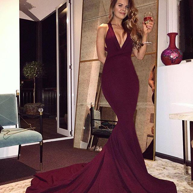 Burgundy Mermaid V Neck Backless Sweep Train Prom Dresses 2017