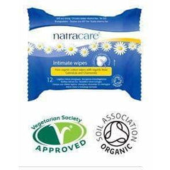 Organic Cotton Intimate Wipes 12 Wipes