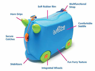 Trunki Ride on Suitcase - Terrance Blue