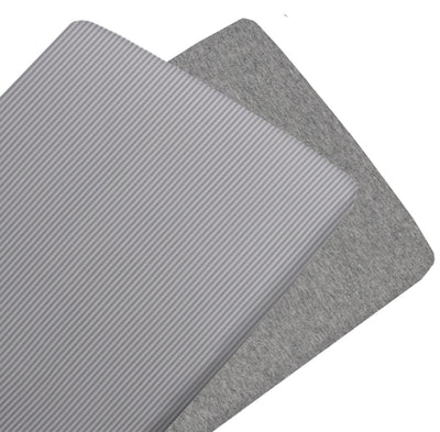 Living Textiles Jersey 2pk Cradle Fitted Sheet - Grey Melange / Stripe