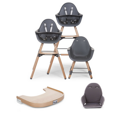 Evolu 2 High Chair, Cushion, Leg Extension Set & Wooden Tray Package