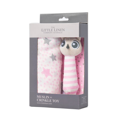 Little Linen Pink Owl Muslin Wrap and Crinkle Toy Gift Set