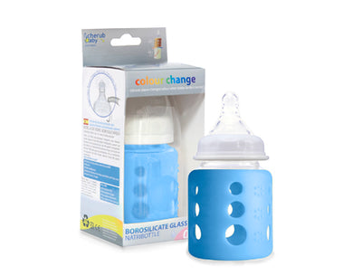 Cherub Baby 150ml Wideneck Glass Bottle - Light Blue