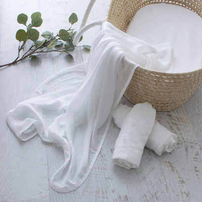 Bubba Blue Bamboo White 3pk Muslin Wraps