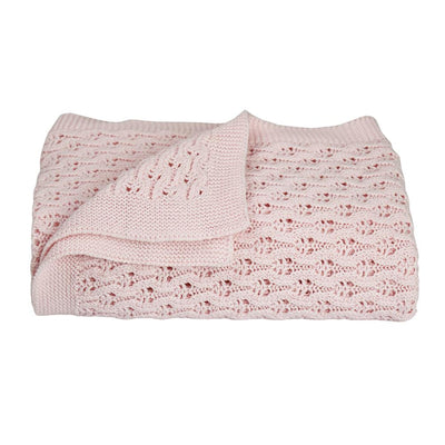 Living Textiles Lattice Baby Shawl - Pink