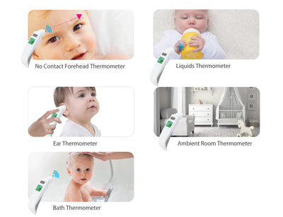 Cherub Baby 5 in 1 Touchless Ear, Forehead and Bath Thermometer