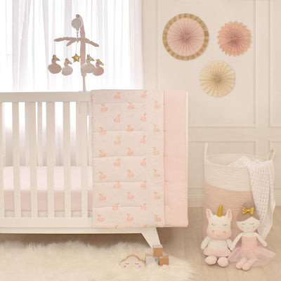Living Textiles Cot Jersey Fitted Sheet - Swan Pink Stripe