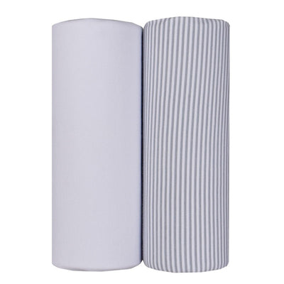 Living Textiles Jersey Wraps (2pk) - White/ Grey Stripe