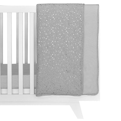 Living Textiles Jersey Cot Comforter - Silver Stars/Grey Stripe