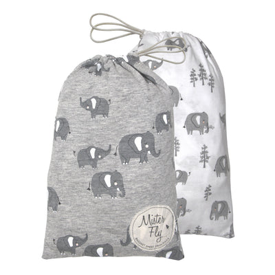 Mister Fly Elephant Jersey Bassinet Fitted Sheet (2pk)