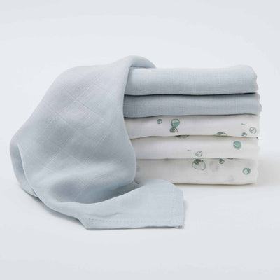Little Bamboo 6 pk Muslin Face Washers - Whisper