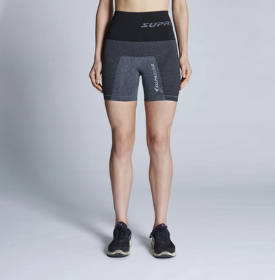 Supacore Post-Natal Compression and Recovery Shorts - Grey/ Black Waist (Special Order)