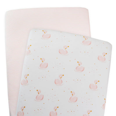 Living Textiles 2pk Bassinet Jersey Fitted Sheets - Swan Princess