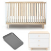 Oeuf Rhea Cot + Mattress + Oeuf Merlin 3 Drawer Dresser + Leander Matty Package