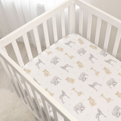 Living Textiles 2pk Cot Jersey Fitted Sheets - Savanna Babies