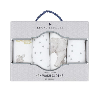 Living Textiles 4pk Face Washers - Savanna Babies