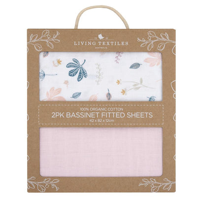 Living Textiles Organic Muslin 2pk Bassinet Fitted Sheet - Botanical/Blush