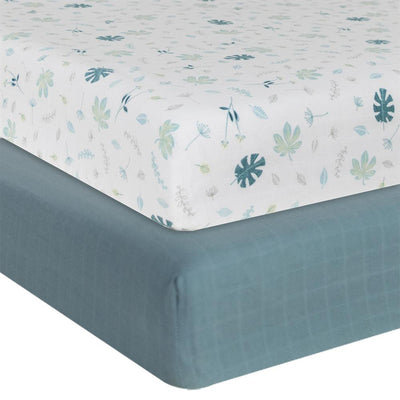 Living Textiles Organic Muslin 2pk Cot Fitted Sheet - Banana Leaf/Teal