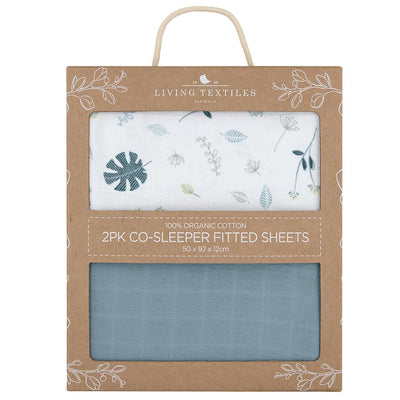 Living Textiles Organic Muslin 2pk Cradle/Co-Sleeper Fitted Sheet - Banana Leaf/Teal