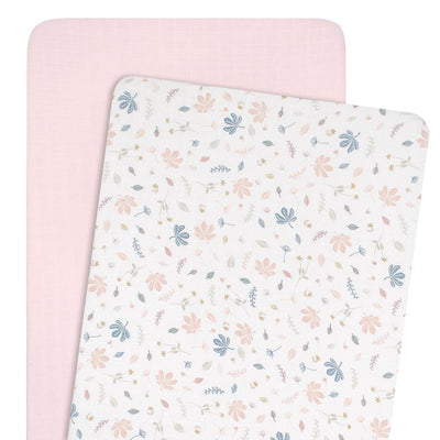 Living Textiles Organic Muslin 2pk Cradle/Co-Sleeper Fitted Sheet - Botanical/Blush