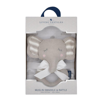 Living Textiles Knitted Rattle + Muslin Gift Set - Eli the Elephant