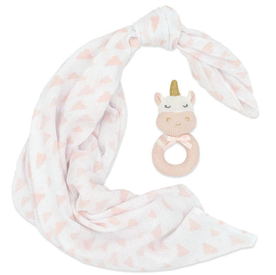 Living Textiles Knitted Rattle + Muslin Gift Set - Kenzie the Unicorn