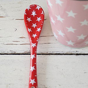 Porcelain spoon red with stars - prettyhomestyle
