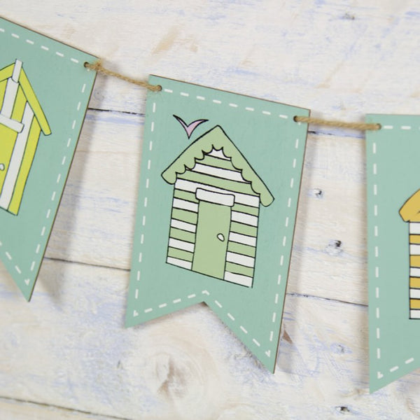 beach hut wooden bunting