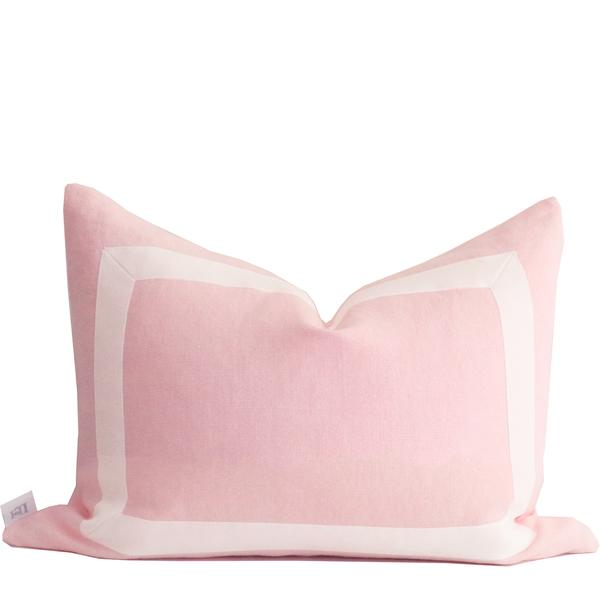 Pink Organic Linen Pillow Cover with White Ribbon Trim - prettyhomestyle