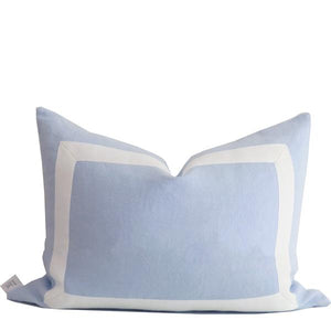 Linen Cushion Cover with White Ribbon Trim Sky Blue.