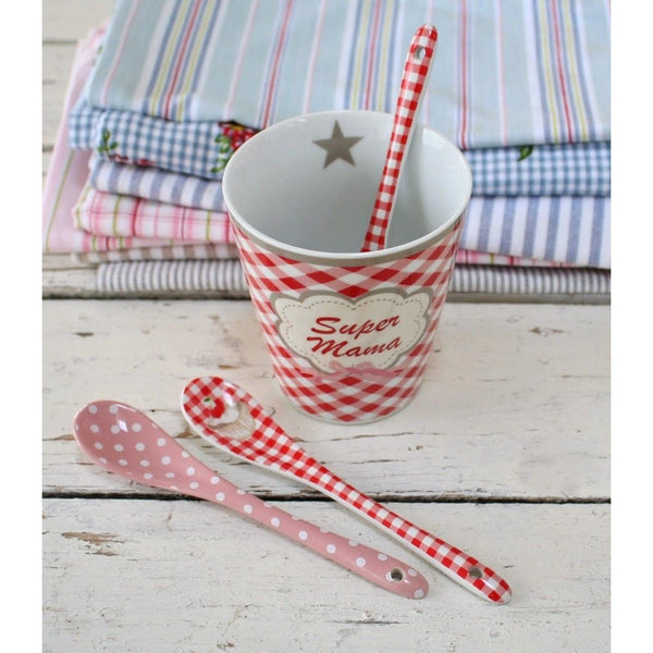 red and white gingham porcelain spoon