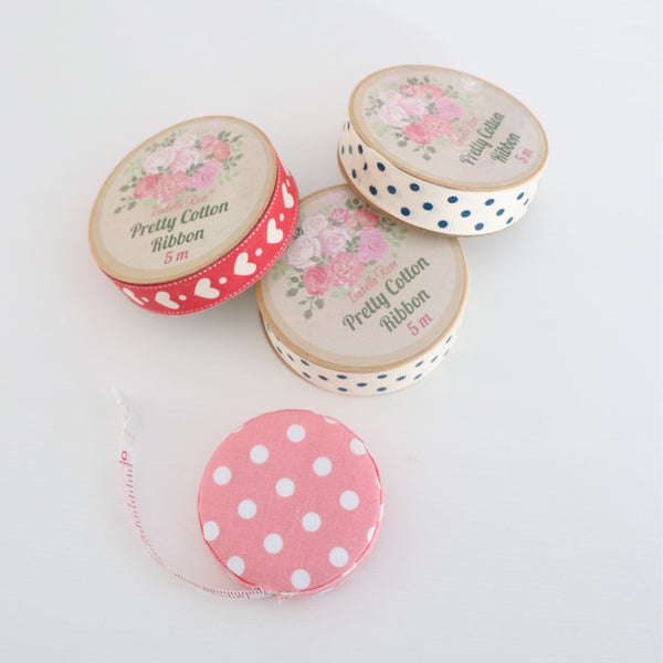 Cream Ribbon with navy blue dots