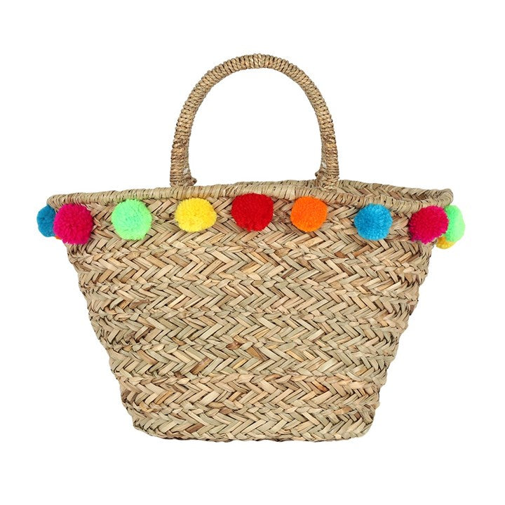 Beach Bag Basket Pom Pom - prettyhomestyle