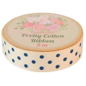 Cream Ribbon with navy blue dots - Lifestyle